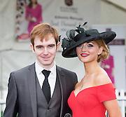 30/07/2015 report free : Winners Announced in Kilkenny Best Dressed Lady, Kilkenny Best Irish Design & Kilkenny Best Hat Competition at Galway Races Ladies Day <br /> From Left at the event was Maria Tennison and Paul Cosgrove, Tyrone<br /> Photo:Andrew Downes, xposure