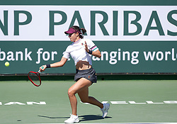 March 8, 2019 - Indian Wells, CA, U.S. - INDIAN WELLS, CA - MARCH 08: Caroline Garcia (FRA) hits a forehand during the second round of the BNP Paribas Open on March 08, 2019, at the Indian Wells Tennis Gardens in Indian Wells, CA. (Photo by Adam Davis/Icon Sportswire) (Credit Image: © Adam Davis/Icon SMI via ZUMA Press)