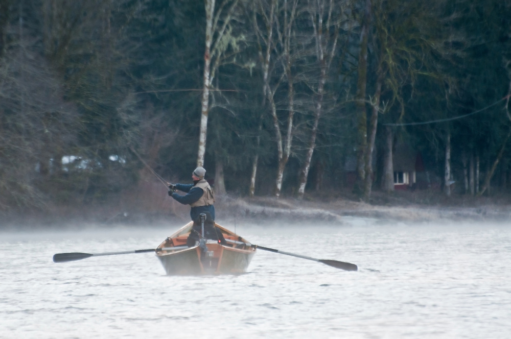 Fly fishermen in the early morning on the Skagit River, Washington.  Photo by William Byrne Drumm.