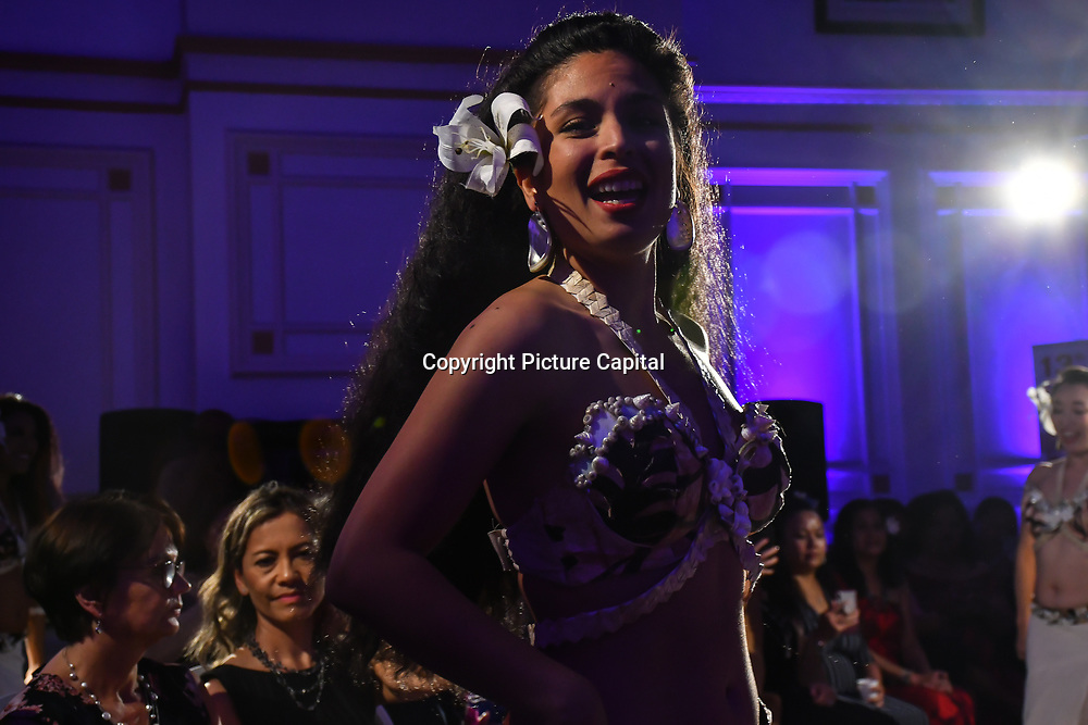 Dancers at the London Pacific Fashion Week 2019 at Royal Horseguards Hotel, on 13 September 2019, London, UK.