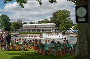 Henley-On-Thames, Berkshire, UK., Wednesday, 11.08.21,   General view from Stewards Enclosure of the Progress Board ans Phyliss Court Club, Grandstand, 2021 Henley Royal Regatta, Henley Reach, River Thames, Thames Valley,  [Mandatory Credit © Peter Spurrier/Intersport Images],
