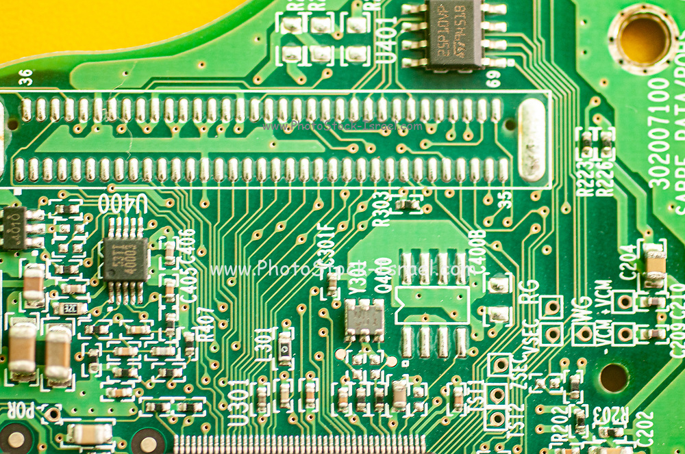 Close up of an electronic PCB in this case an external hard disk drive