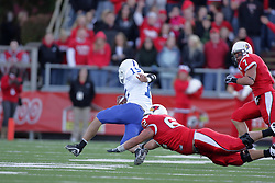 17 October 2009:  Mike Piton leaps at Ryan Roberts on a quarterback option play. The Indiana State Sycamores tumble to the Illinois State Redbirds 38-21 at Hancock Stadium on campus of Illinois State University in Normal Illinois