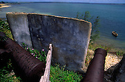 Old canons are part of what is left inside San Sebastian Fortress in Ilha de Mozambique