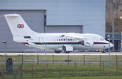 © Licensed to London News Pictures. 11/03/2019. London, UK. An RAF BAE 146 jet is seen on the tarmac at Northolt airport. It was earlier reported to be on standby to take Prime Minister Theresa May to Brussels for last minute negotiations with EU chiefs ahead of tomorrow's crucial Brexit withdrawal vote in Parliament. Photo credit: Peter Macdiarmid/LNP