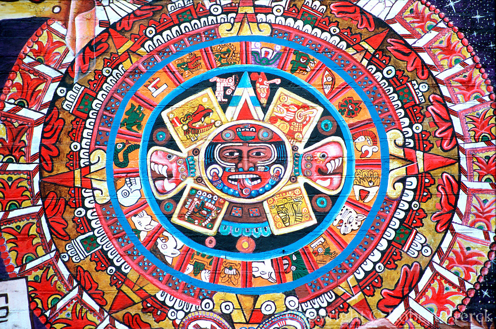 CHICAGO, NEIGHBORHOODS: Hispanic, Aztec Calendar Stone mural