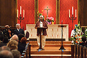 "14 April 2012-Santa Barbara, CA: ""Excerpts from Black Street"", Sojourner Kincaid Rolle, Poet. Babatunde Folayemi Memorial Service at First United Methodist Church, 305 East Anapamu Street, Santa Barbara, CA. Family and friends gathered immediately following the service for refreshments and sharing in the Fellowship Hall of the church.Artist, Youth advocate, community leader, and former Santa Barbara City Council Member Babatunde Folayemi passed away on Wednesday, March 28, peacefully at home. He was 71, and is survived by his wife Akivah Northern, Cinque Folayemi Northern his son, several nieces and nephews, as well as grand-nieces and grand-nephews. He is also survived by his wifes Aunt Bea (Vivian Scarbrough), who is 105 years old. Photo by Rod Rolle"