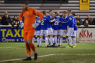 Oldham Athletic  team mates celebrate scoring a goal (0-2) during the The FA Cup match between Maidstone United and Oldham Athletic at the Gallagher Stadium, Maidstone, United Kingdom on 1 December 2018. Photo by Martin Cole