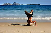 carioca doing capoeira on ipanema beach in rio de janeiro brazil