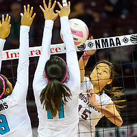 111413  Adron Gardner/Independent<br /> <br /> Navajo Prep Eagles LeShauntai Adams (9), left, and Tanisha Garcia (11) attempt a block on Ramah Mustang Jordyn Lewis (15) during the state volleyball tournament at the Santa Ana Star Center in Rio Rancho Friday.