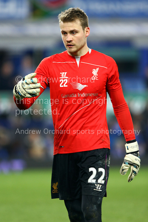 Liverpool Goalkeeper Simon Mignolet  warms up prior to kick off. Barclays Premier league match, Everton v Liverpool at Goodison Park in Liverpool, Merseyside on Saturday 7th February 2015<br /> pic by Chris Stading, Andrew Orchard sports photography.