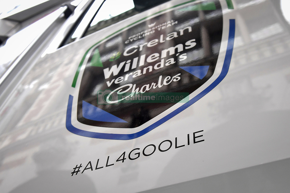 April 11, 2018 - Leuven, BELGIUM - Illustration picture shows a '#all4goolie' sticker on the Verandas Willems - Crelan bus, a tribute to the 23 year old cyclist Michael Goolaerts who died after a crash in the Paris-Roubaix race on Sunday 8 April, at the start of the 58th edition of the 'Brabantse Pijl' one day cycling race, 201,9 km from Heverlee, Leuven to Overijse, Wednesday 11 April 2018. BELGA PHOTO DAVID STOCKMAN (Credit Image: © David Stockman/Belga via ZUMA Press)