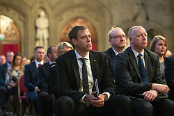 © Licensed to London News Pictures. 05/01/2018. Manchester, UK. JAMES ALLEN General Manager of the Manchester Arena at the ceremony . Police officers and railway workers who came to the aid of victims in the wake of the terrorist attack at an Ariana Grande concert at the Manchester Arena in May 2017 are honoured at a commendation ceremony at the Great Hall at Manchester Town Hall. Amongst those honoured are officers from British Transport Police and Northern Rail staff . Photo credit: Joel Goodman/LNP
