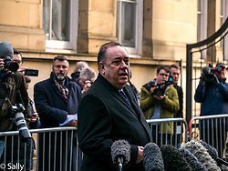 Pictured: Alex Salmond at court . Alex Salmond, former First Minister, leaves Edinburgh Sheriff Court after being charged with sexual assault.. 24 January 2019  <br /> <br /> Sally Anderson   EdinburghElitemedia.co.uk