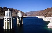 Intake towers and water storage lake,  Hoover dam on the Colorado River, Nevada and Arizona border, USA