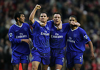 Photo:Ryan Browne/Back Page Images.<br />Liverpool v Chelsea, FA Barclays Premiership, Anfield, 01/01/05<br />Chelsea's Paulo Fereira,Frank Lampard, John Terry and Glen Johnson celebrate after the final whistle