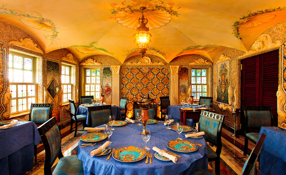 The palatial dining room of the former Gianni Versace mansion, now a hotel, on South Beach's Ocean Drive.