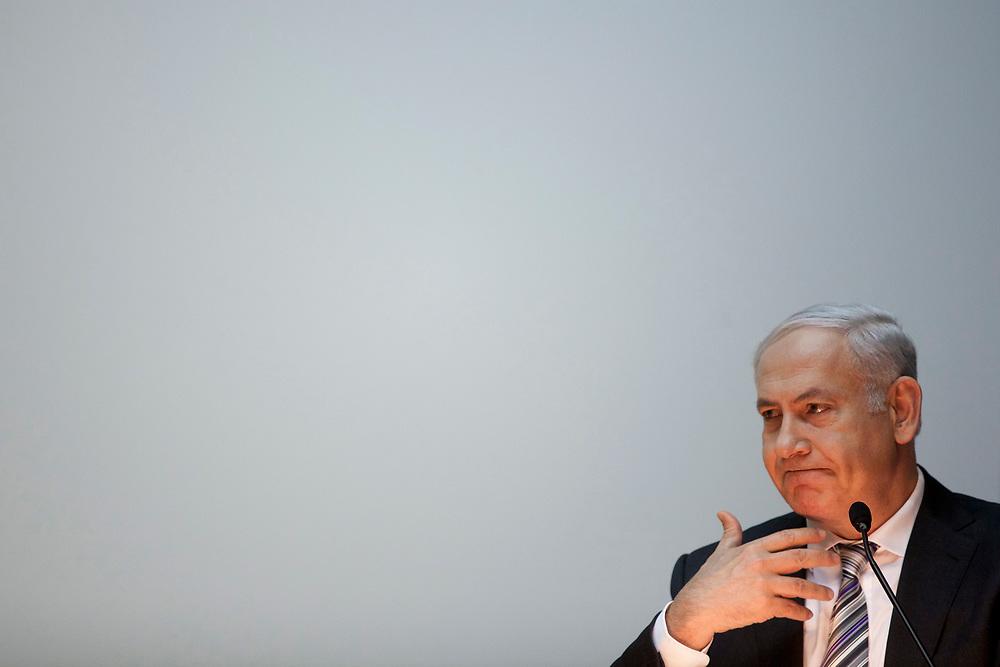 Israel's Prime Minister Benjamin Netanyahu gestures as he speaks during a memorial event for Dov Shilansky at the Knesset, Israel's parliament in Jerusalem, on December 13, 2011.