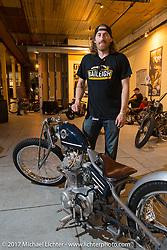 Austin Andrella of Austin Martin Originals at the In Motion invitational bike show at the Lone Star Rally. Galveston, TX. USA. Friday November 3, 2017. Photography ©2017 Michael Lichter.