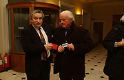 Norman Rosenthall and John Julius Norwich with their free bus paEveryman's Centenary Party. The Fine Rooms. Royal Academy. London. 15 February 2006. dddONE TIME USE ONLY - DO NOT ARCHIVE  © Copyright Photograph by Dafydd Jones 66 Stockwell Park Rd. London SW9 0DA Tel 020 7733 0108 www.dafjones.com