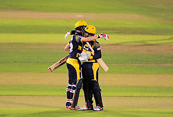 Aneurin Donald of Glamorgan and Jacques Rudolph of Glamorgan celebrate victory.    - Mandatory by-line: Alex Davidson/JMP - 22/07/2016 - CRICKET - Th SSE Swalec Stadium - Cardiff, United Kingdom - Glamorgan v Somerset - NatWest T20 Blast