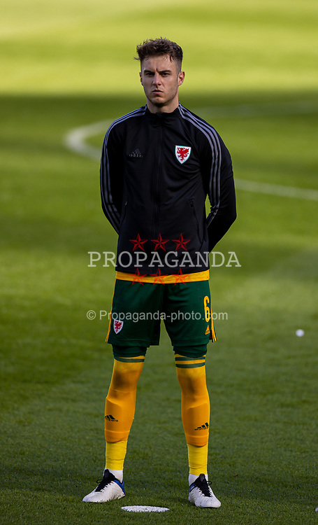 DUBLIN, REPUBLIC OF IRELAND - Sunday, October 11, 2020: Wales' Joe Rodon lines-up for the national anthem before the UEFA Nations League Group Stage League B Group 4 match between Republic of Ireland and Wales at the Aviva Stadium. The game ended in a 0-0 draw. (Pic by David Rawcliffe/Propaganda)