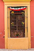 Ornate window on the Alcala in the historic district Oaxaca, Mexico.