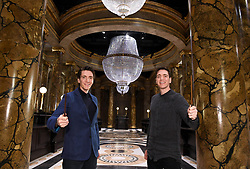EDITORIAL USE ONLY (Left to right) Oliver Phelps and James Phelps in the Lestrange Vault set at the original Gringotts Wizarding Bank at Warner Bros Studio Tour London, which opens to the public on Saturday 6th April.