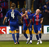 Photo: Chris Ratcliffe.<br />Crystal Palace v Wolverhampton Wanderers. Coca Cola Championship. 10/12/2005.<br />Andy Johnson (R) celebrates his equalising goal for Palace with Darren Ward and Clinton Morrison (C).