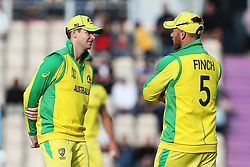 Australia's Steve Smith (left) and Australia Captain Aaron Finch discuss tactics during the ICC Cricket World Cup Warm up match at The Hampshire Bowl, Southampton.