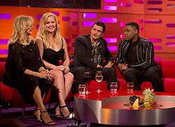 (left to right) Goldie Hawn, Amy Schumer, Orlando Bloom and John Boyega during the filming of the Graham Norton Show at The London Studios, to be aired on BBC One on Friday.
