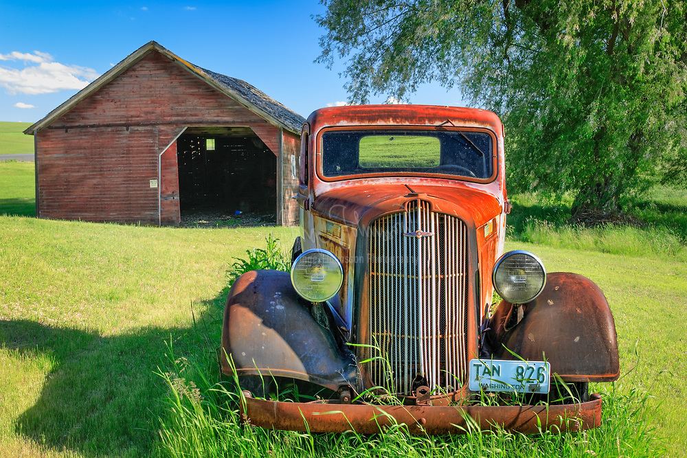 Rusty old car in the Palouse region of eastern Washington state