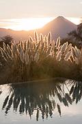 Licancabur Volcano and swimming pool detail at Tierra Atacama Hotel, San Pedro de Atacama,Chile.