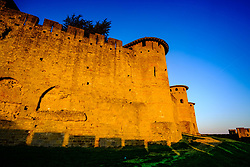 The first rays of dawn sunlight strike the walled Cité de Carcassonne, France - a UNESCO World Heritage Site and France's second most popular tourist attraction.<br /> <br /> (c) Andrew Wilson   Edinburgh Elite media