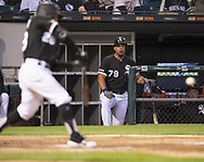 CHICAGO - MAY 30:  Jose Abreu #79 of the Chicago White Sox looks on against the Cleveland Indians on May 30, 2019 at Guaranteed Rate Field in Chicago, Illinois.  (Photo by Ron Vesely)  Subject:  Jose Abreu