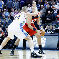 08 March 2017: Denver Nuggets center Mason Plumlee (24) defends on Washington Wizards center Marcin Gortat (13) during the Washington Wizards 123-113 victory over the Denver Nuggets, at the Pepsi Center, Denver, Colorado, USA.