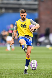 Cardiff Blues' Lewis Jones during the pre match warm up<br /> <br /> Photographer Craig Thomas/Replay Images<br /> <br /> European Rugby Challenge Cup Round Semi final - Cardiff Blues v Pau - Saturday 21st April 2018 - Cardiff Arms Park - Cardiff<br /> <br /> World Copyright © Replay Images . All rights reserved. info@replayimages.co.uk - http://replayimages.co.uk