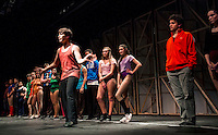 """Mark"" Cody Hodgins auditions in the ""Chorus Line"" at Gilford High School at dress rehearsal on Wednesday evening.  (Karen Bobotas/for the Laconia Daily Sun)"