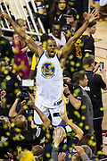 Golden State Warriors forward Andre Iguodala (9) celebrates the Golden State Warriors becoming NBA Champions after beating the Cleveland Cavaliers in Game 5 of the NBA Finals at Oracle Arena in Oakland, Calif., on June 12, 2017. (Stan Olszewski/Special to S.F. Examiner)