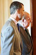 062215 King Felipe and King Juan Carlos attend a meeting with Cotec Foundation