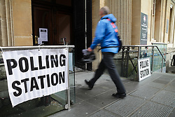 © Licensed to London News Pictures. 07/05/2015. Bristol, Avon, UK. A man arriving to vote at the Corn Street polling station in Bristol for the 2015 UK General Election today, 7th May 2015. Photo credit : Rob Arnold/LNP