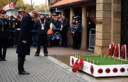 Prince Harry lays a Poppy Wreath ahead of the Autumn International match at Twickenham Stadium, London.