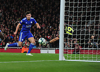 Football - 2018 / 2019 Premier League - Arsenal vs. Leicester City<br /> <br /> Harry Maguire of Leicester has his header saved by Arsenal goalkeeper, Bernd Leno, at The Emirates.<br /> <br /> COLORSPORT/ANDREW COWIE