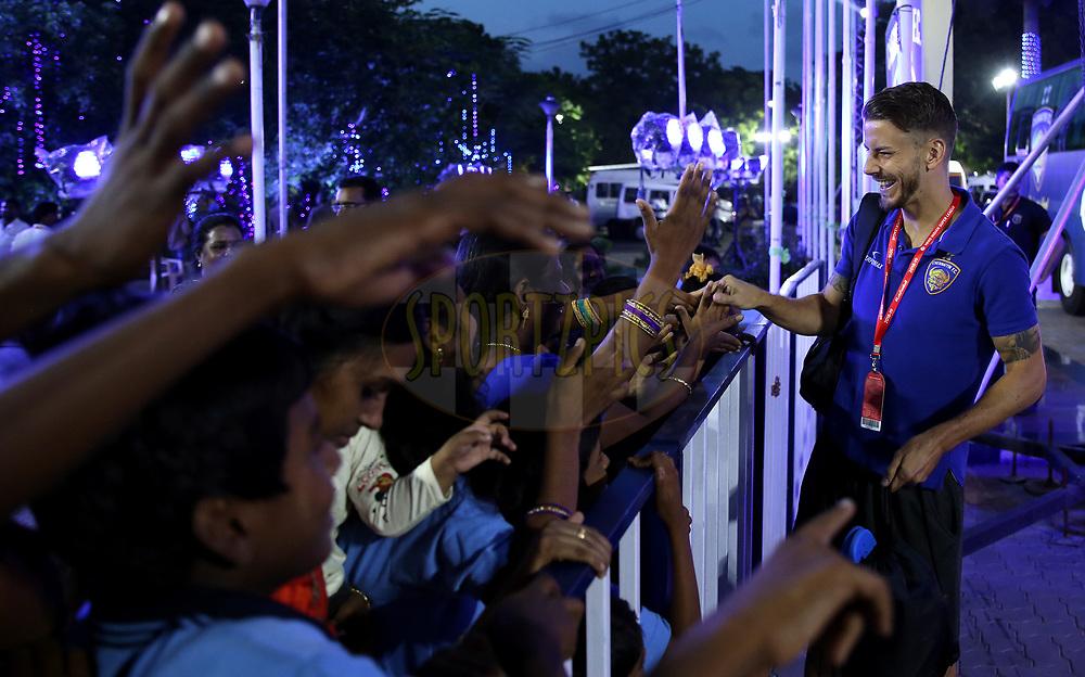 Andrea Orlandi of Chennaiyin FC meets the Dazzlingstone Orphanage Kids during match 27 of the Hero Indian Super League 2018 ( ISL ) between Chennaiyin FC  and Mumbai City FC  held at the Jawaharlal Nehru Stadium, Chennai, India on the 3rd November 2018<br /> <br /> Photo by: Sandeep Shetty /SPORTZPICS for ISL