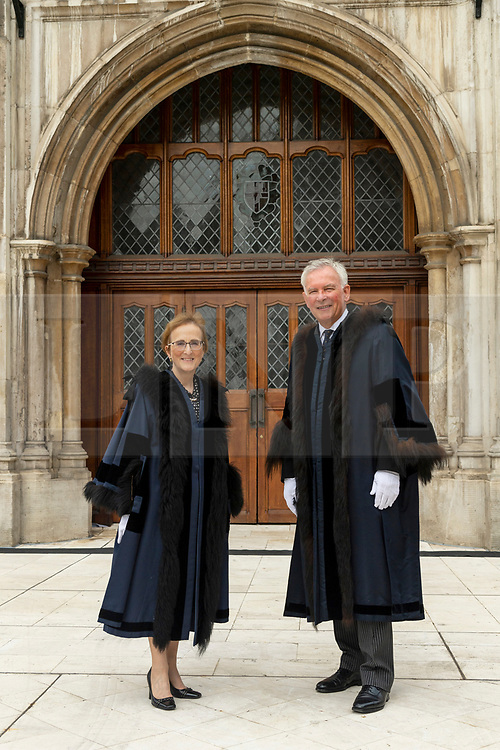© Licensed to London News Pictures. 24/06/2021. London, UK. Two new Sheriffs of the City of London Aldermen Alison Gowman and Alderman Nicholas Lyons appear at Guildhall Yard wearing full ceremonial dress after being elected at a meeting of Common Hall at Guildhall in the heart of the Square Mile. The position of Sheriff dates back to medieval times and the role includes supporting the Lord Mayor in his or her duties, acting as global for the UK's financial and professional services industry and supporting judges at the Central Criminal Court – the Old Bailey. Photo credit: Ray Tang/LNP