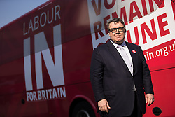 © Licensed to London News Pictures . 13/05/2016 . Liverpool , UK . Labour Party Deputy Leader TOM WATSON posing in front of the Labour In for Britain campaign bus in Williamson Square in Liverpool . Photo credit : Joel Goodman/LNP