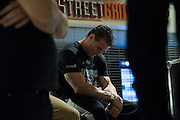 Houston, Texas - February 18, 2016: Ken Shamrock waits backstage before the Bellator 149 weigh-ins at the Toyota Center in Houston, Texas on February 18, 2016. (Cooper Neill for ESPN)