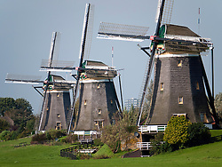 Three historic windmills at Leidschendam  near The Hague in The Netherlands