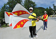 Bled, SLOVENIA, General View,   CHN W8+ crew members carry the blades to the dock, before a training outing.  1st FISA World Cup, on Lake Bled.  Thursday  27/05/2010  [Mandatory Credit Peter Spurrier/ Intersport Images]