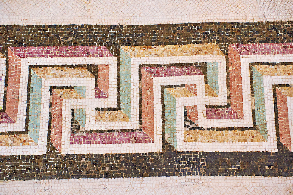 Roman Geometric  Swastica mosaic decorations of the Triclinium C, Villa Farnesia, Rome. Museo Nazionale Romano ( National Roman Museum), Rome, Italy. .<br /> <br /> If you prefer to buy from our ALAMY PHOTO LIBRARY  Collection visit : https://www.alamy.com/portfolio/paul-williams-funkystock/national-roman-museum-rome-mosaic.html <br /> <br /> Visit our ROMAN ART & HISTORIC SITES PHOTO COLLECTIONS for more photos to download or buy as wall art prints https://funkystock.photoshelter.com/gallery-collection/The-Romans-Art-Artefacts-Antiquities-Historic-Sites-Pictures-Images/C0000r2uLJJo9_s0